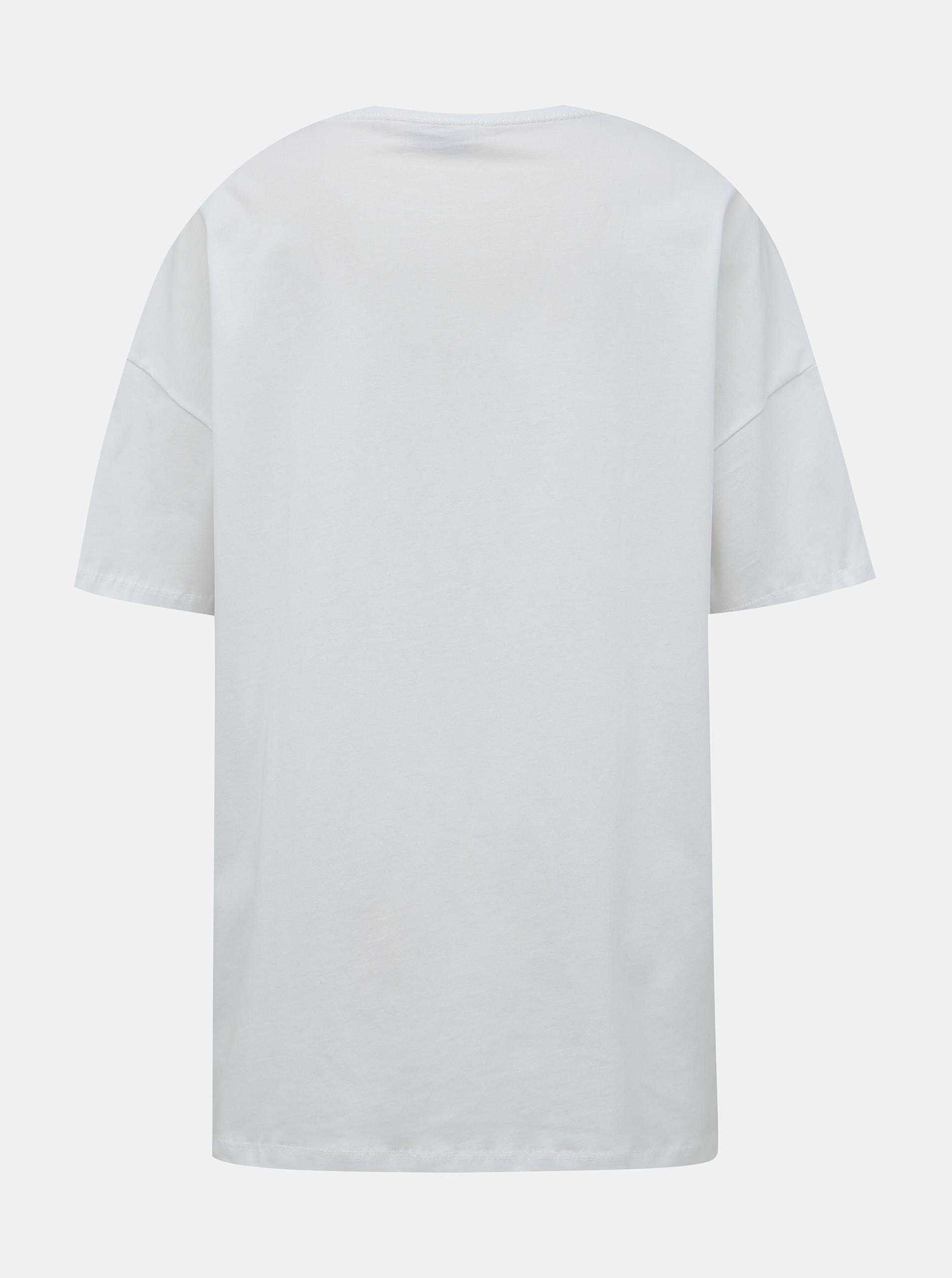 Bela majica v velikem obsegu s tiskom Noisy May Ida