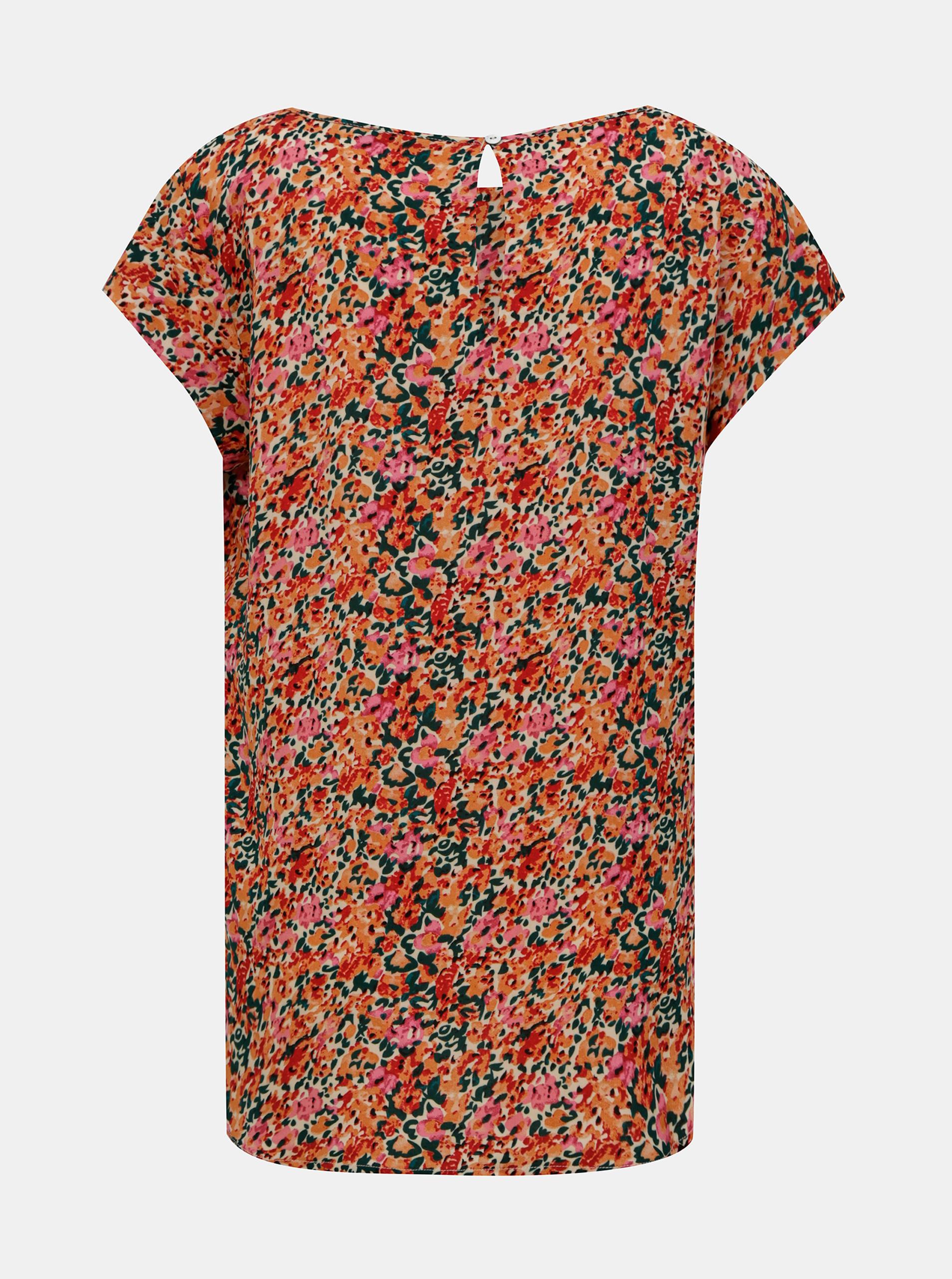 Roza-oranžna bluza s cvetom SAMO Nova
