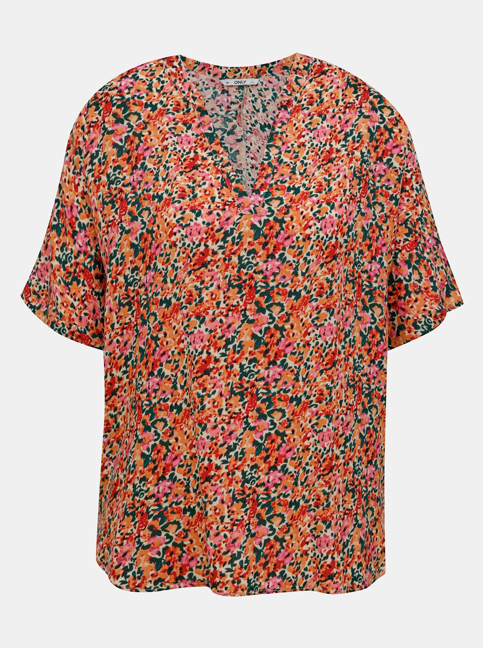 Roza-oranžno cvetoča ohlapna bluza SAMO Nova