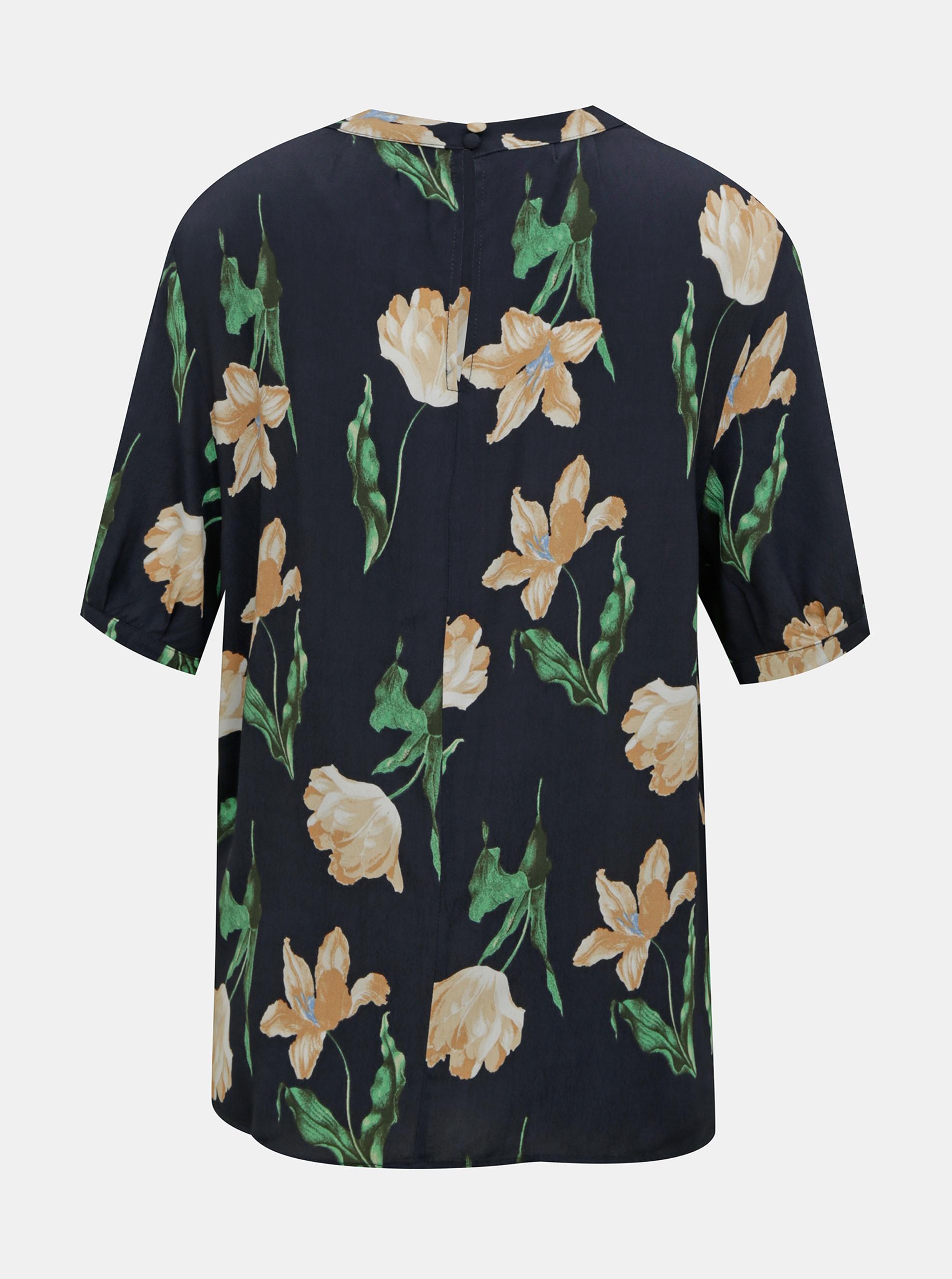 Temno modra cvetna bluza VERO MODA Betty