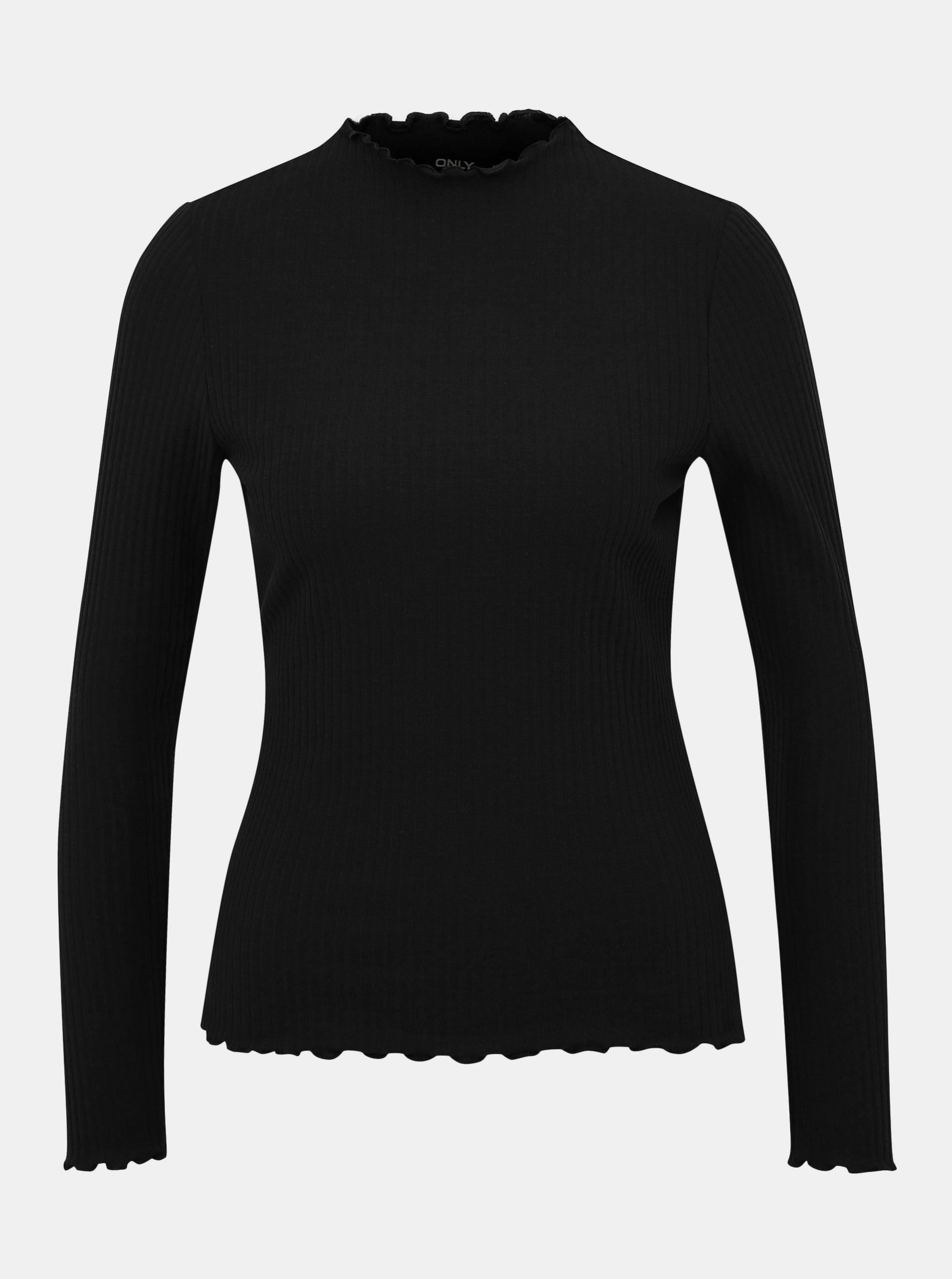 Črna rebrasta majica SAMO Emma