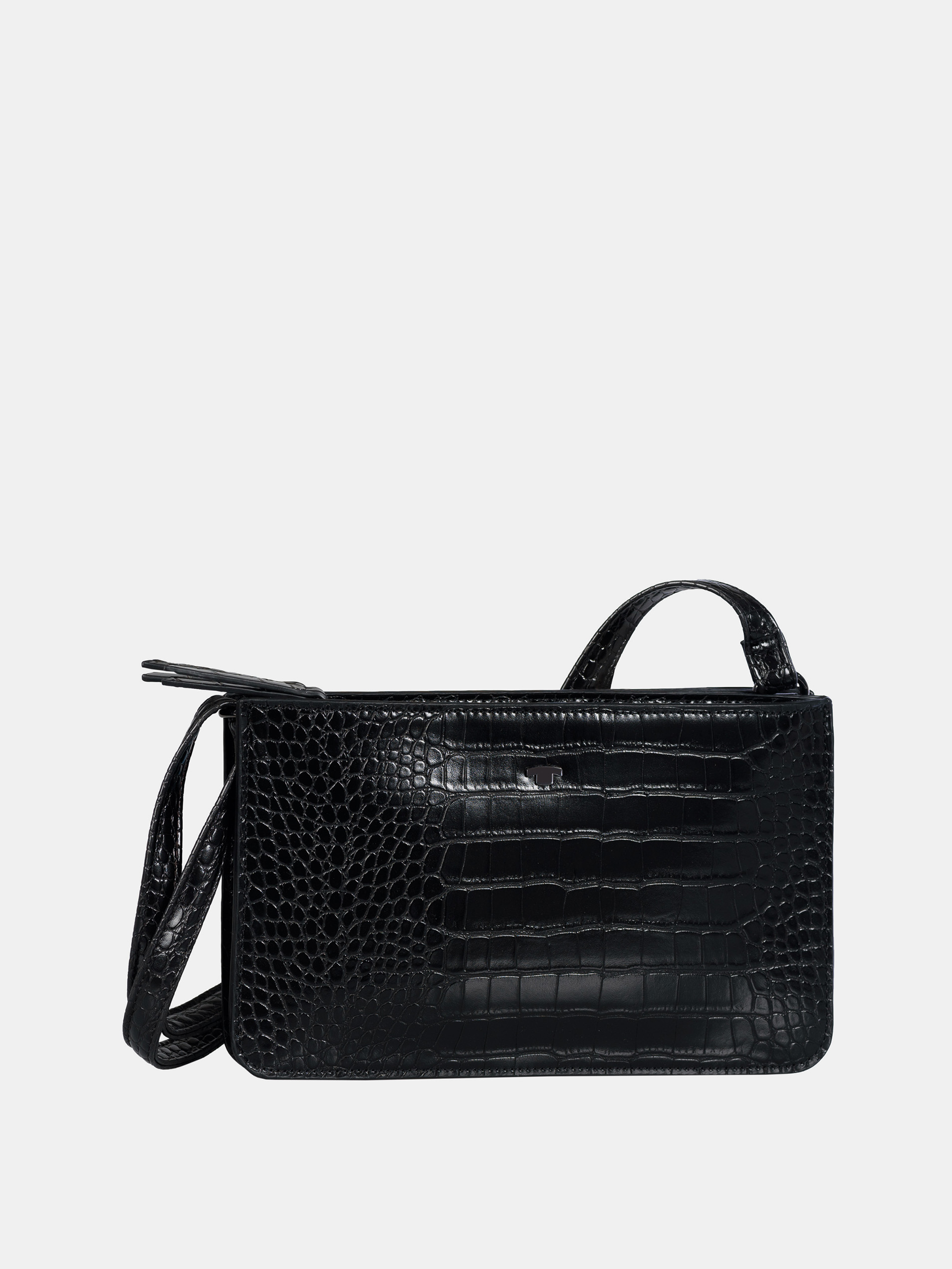 Črna torbica crossbody s krokodiljim vzorcem znamke Tom Tailor