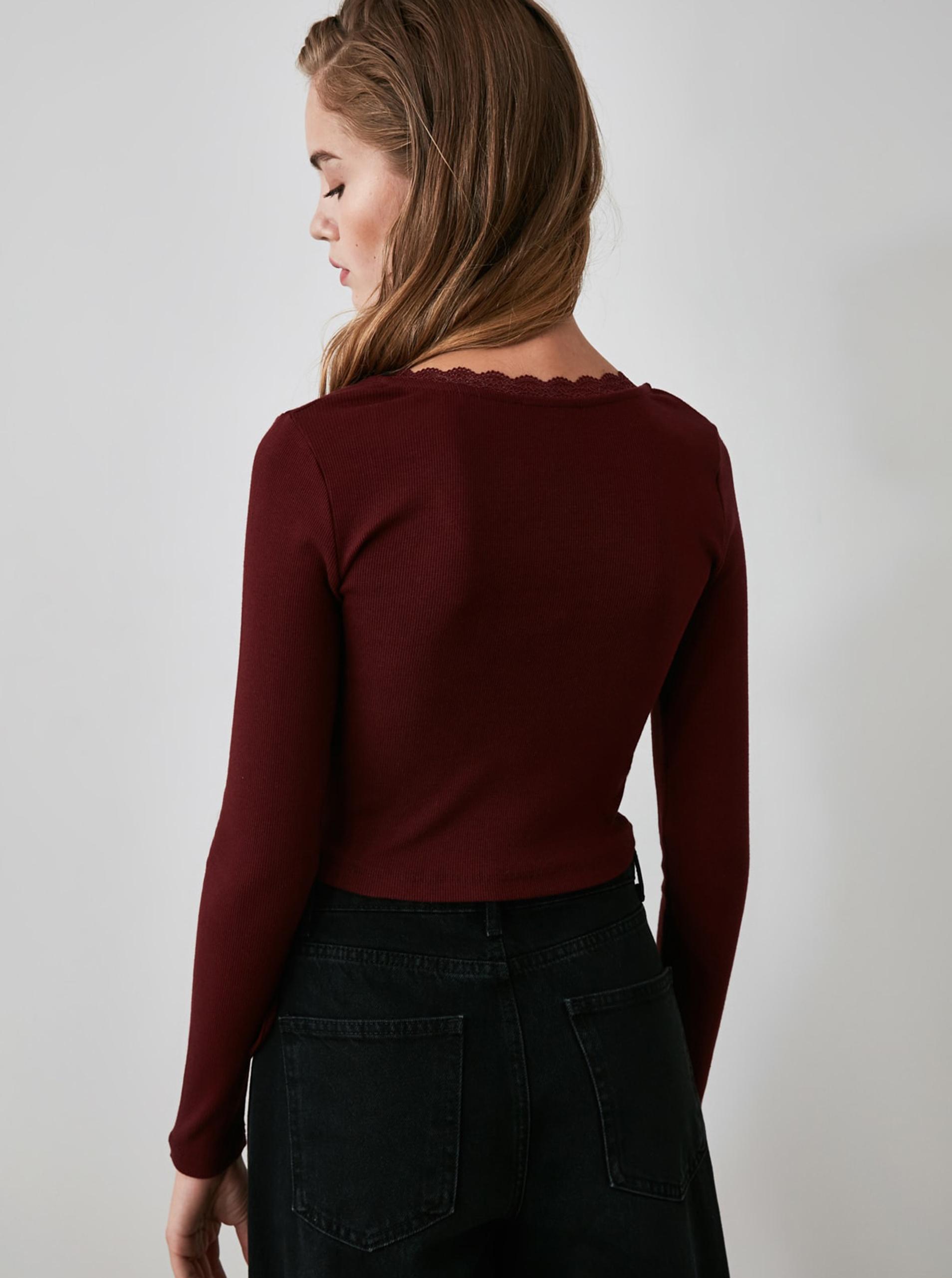 Bordo kratka majica z vezavo Trendyol