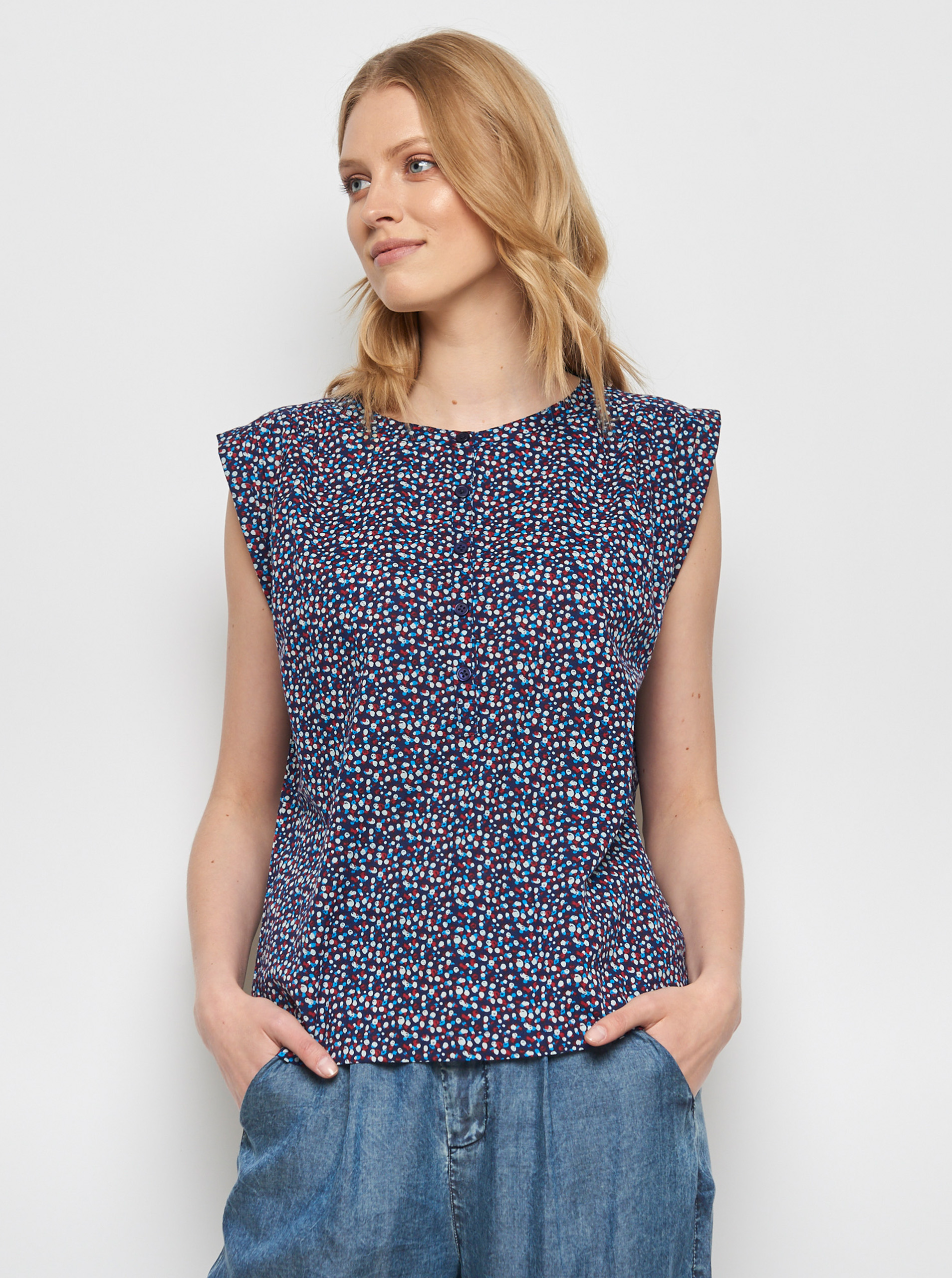 Tranquillo modra bluza Lamin z barvnimi motivi